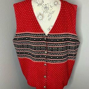 Vintage Eddie Bauer Red Wool Button Vest Mens XXL